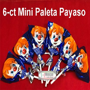 Ricolino Mini Paleta Payaso 6-ct Marshmallow Chocolate Cover w/ happy face gummy