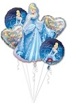 CINDERELLA BALLOON BOUQUET BIRTHDAY MYLAR FOIL - 5 BALLOONS DISNEY