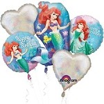 ARIEL LITTLE MERMAID BALLOON BOUQUET BIRTHDAY MYLAR FOIL - 5 BALLOONS DISNEY
