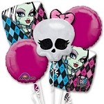 MONSTER HIGH BOUQUET BIRTHDAY MYLAR FOIL 5 BALLOONS ON BOX